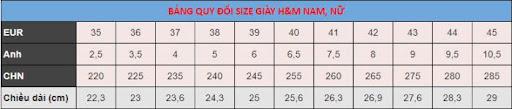 Bảng size H&M dành cho nữ và nam